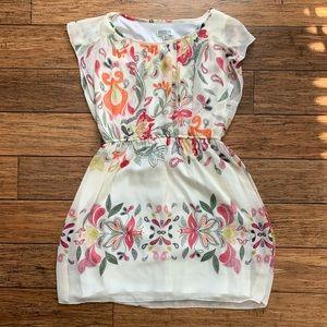 White Paisley Cinched Waist Sleeveless Dress